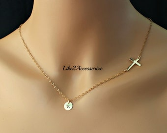 14K Gold Fill Sideway Cross Necklace, Initial Charm Necklace Horizontal Cross, Celebrity Inspired Necklace, Baptism Gift Religious Jewelry