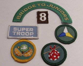 Girl Scout Vintage Badges and Patches Bridge to Juniors, Super Troop Brownie #8, Gypsy and Dabbler