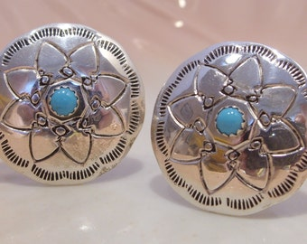 Genuine Indian Handcrafted Sterling Silver and Turquoise Cuff Links