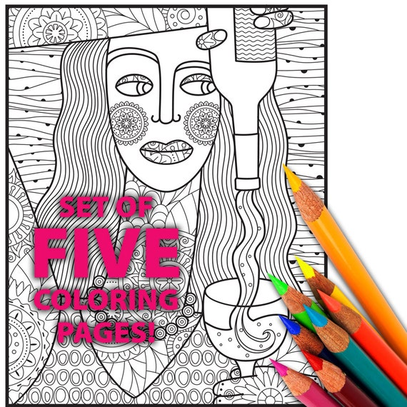 WINE Adult Coloring Pages Adult Coloring Sheets Coloring