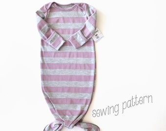 Knot gown sewing pattern. Newborn gown. PDF pattern, easy with lots of pictures. Sewn with sewing machine alone. (From lippy brand patterns)