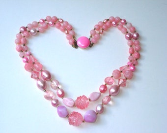 Pink  Beaded Necklace - Vintage double layer textured beads - 1960's Fashion Japan