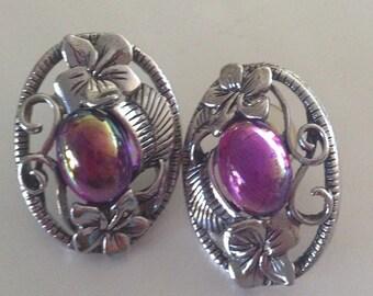 Vintage Purple Moonstone Earrings, iridescent amethyst fashion earrings, hammered silver tone pierced earrings, purple costume jewelry