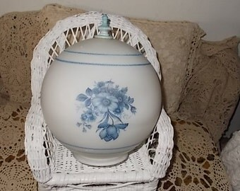 Vintage Pretty Blue Flower Round Light Shade/ Not Included in Coupon Discount Sale/ New Listing :)S