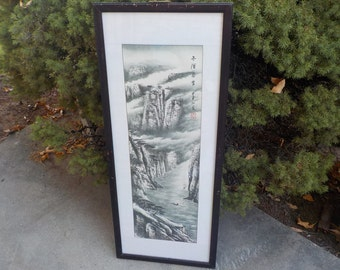 Asian Water Color, Scroll, Lithograph ? Not Sure High Mountain Scene with 2 Boats #4 /NOT INCLUDED In Any Discount or Couon Sales