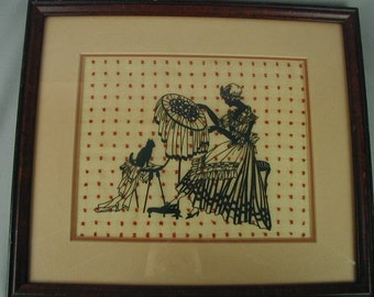 Vintage Scherenshnitte Silhouette of Young Woman in Colonial Dress Embroidering, Paper Cutting Craft