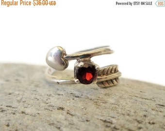 ON SALE Vintage Sterling Garnet Cupid Heart Arrow Ring, Signed by Danecraft Size 6.25, Be Mine Valentine
