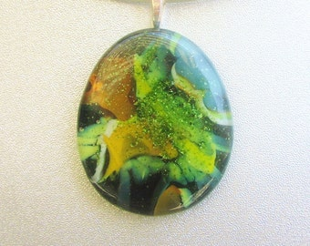 Large Fused Glass Pendant