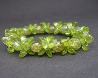Natural Gemstone Peridot 8mm Round Beads and 8x6mm Faceted Peridot Gems Bracelet