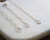 Sterling silver anklet with tiny heart charm, Silver anklet bracelet, Dainty silver anklet, Silver heart anklet, 925 silver charm anklet