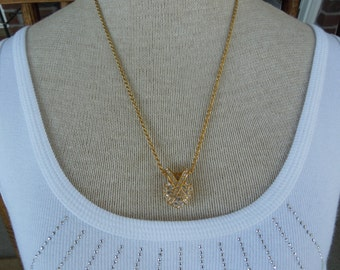 Vintage Necklace, Gold Toned, Heart Pendant With Rhinestones 21 Inches.