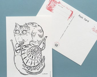 "Snail Mail Cats - Postcard ""Rider"""