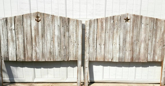 Twin Tricia white seaside Reclaimed wood Cottage Headboard