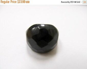 ON SALE Vintage Black Facetted Carved Bakelite Ring Item K # 157