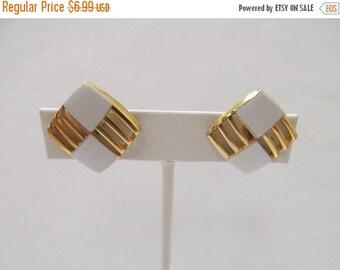 On Sale Vintage White Enameled Earrings Item K # 2097