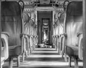 black and white photography classic trains remained empty - photo art etsyitaliateam