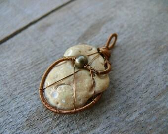 Sea stone jewelry, genuine beach stone pendant, metal beads, sea stone pendant, wire wrapped pendant, copper wire, pendant statement piece