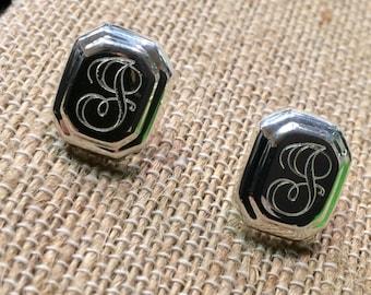 Sterling Silver Monogrammed Stud Earrings