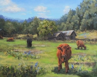Afternoon Snack - Large Original Rural Ranch Barn and Cow Painting