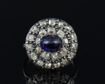 Spectacular Georgian 2.00 Ct natural sapphire and 2.40 Ct flemish cut diamond rare ring