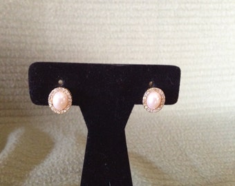 Vintage Goldtone Pearl and Rhinestone Clip On Earrings, 1/2'' High