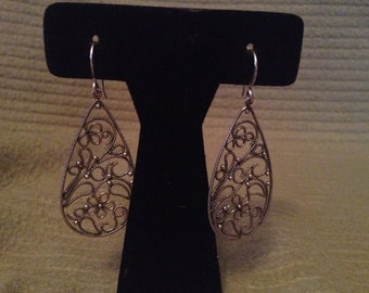 Vintage Silvertone Floral Design Dangle Earrings, 1 1/2'' Long