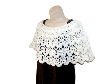 Crochet Capelet, Bridal Poncho, Woman Poncho, Crochet Shawl, White Poncho, Bride Poncho, White Shawl, Shoulder Warmer, White Capelet, Poncho
