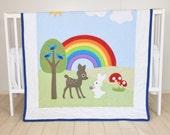 Rainbow Baby Blanket, Baby Boy or Girl Crib Bedding, Forest Nursery Quilt, Boy Crib Bedding, Cute  Bunny,  Fawn  Blanket