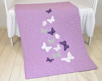 Butterfly Blanket, Purple  White Gray Butterfly Quilt Blanket, Modern Baby Crib Blanket