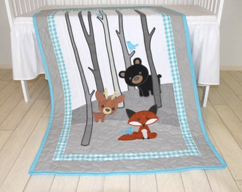 Woodland Blanket, Baby Boy or Girl Crib Bedding, Forest Nursery Quilt, Boy Crib Bedding, Cute  Fox,  Bear, Deer  Blanket