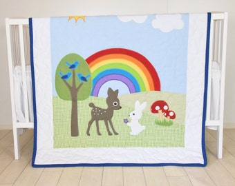 Rainbow Baby Blanket, Baby Boy or Girl Crib Bedding, Forest Nursery Quilt, Boy Crib Bedding, Cute  Bunny,  Fawn  Blanket