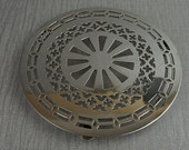 Reserved for giuli coss Round Silver Plated Cut Out Trivet Pot Stand
