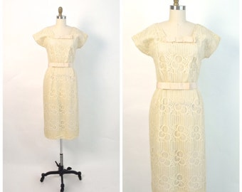 Vintage 1950s Dress 50s Lace Nelly Don Wiggle Dress