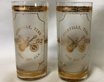 Vintage Culver 22k Gold Souvenir Tumbler Glass Music City Nashville Tennessee Country Music