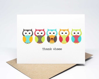 Thank You Card - 5 Bright Owls - Thank Whoo - THY026 / Card Thank You