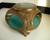 Vintage Gold Ormolu Jewelry Casket Box With 5 Beveled Glass Panels