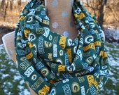 LAST ONE!  Greenbay Packers Glitter NFL Football GameDay Infinity Scarf 10x70 Double Loop