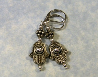 Bali Silver and Hamsa Bead Frame Drop Earrings