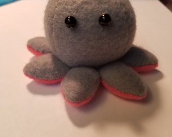 Gray and Red Octopus Plushie