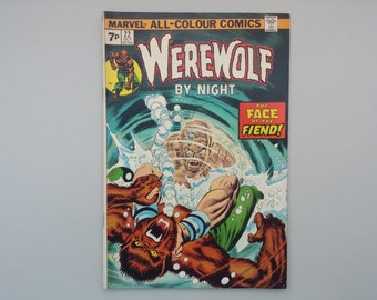 Werewolf by Night issue 22 / 1974 / Vintage Bronze age Marvel Horror comic / Retro Monster
