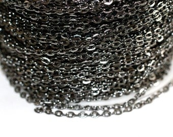 32ft Gun Metal Chain- Cable Chain links 4x2.7mm unsoldered