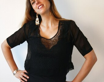 1920's  Vintage black silk and lace blouse, upcycled