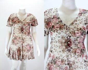Medium - Large Mini Dress - Nostalgia Floral Romantic Dress