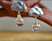 Large Clear Raindrop Silve Cloud Earrings