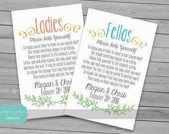 Bathroom Basket Printable/ Males & Females /Guest Bathroom Sign Wedding Print/ Custom/ DIY