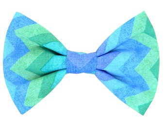 Aqua Blue and Mint Dog Bow Tie; Chevron Dog Collar Bow Tie: Chevron Breeze