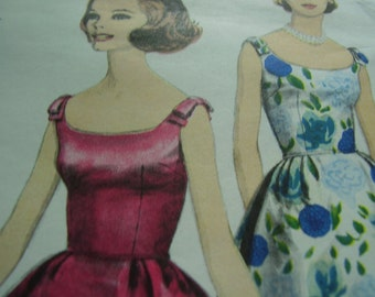 Vintage 1960's Vogue 5701 Young Fashionables Dress, Jacket and Petticoat Sewing Pattern, Size 12, Bust 32