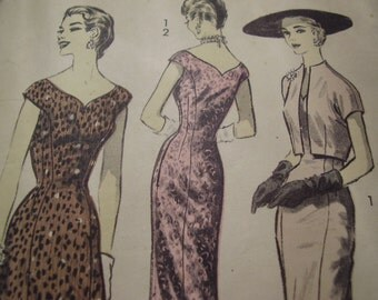 Vintage 1950s Advance 8007 Dress and Jacket Sewing Pattern, Size 14, Bust 32