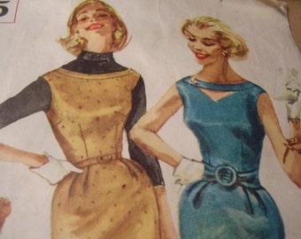 Vintage 1950's Simplicity 2275 Dress Sewing Pattern, Size 15, Bust 35