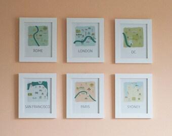 Travel Theme Nursery Wall Decor: Playful Tourism Map Art